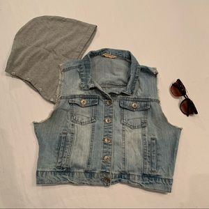 Highway denim Denim vest with removable hood